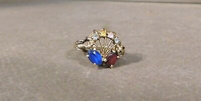 Tiara Signed 10K Gold Mother's Birthstone Ring Multi Stone Ring Size 6