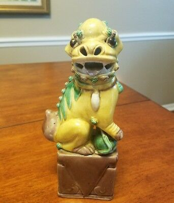 """Antique Chinese Foo Dog Glazed Yellow figurine ~ 8 inches tall ~ Marked """"CHINA"""""""