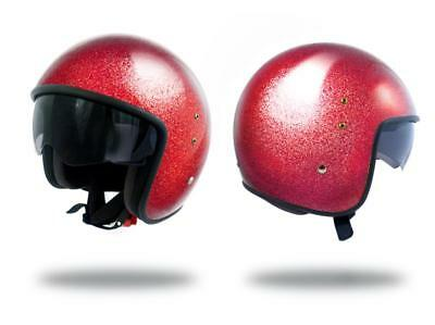 Helmet jet UP Size S Smart glitter red with visor solar scooter motorcycle