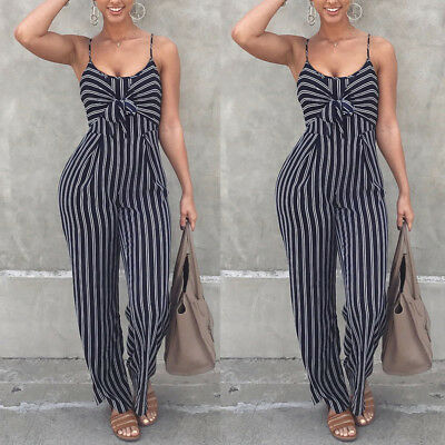 Summer Women Backless Jumpsuit Sleeveless Strappy Ladies Party Playsuit Romper
