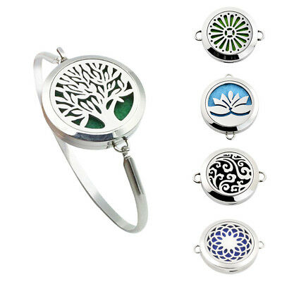 316L Steel Aromatherapy Bangle Essential Oil Locket Diffuser Bracelet 7 Pads NEW