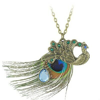 N522 VINTAGE STYLE PEACOCK w/ COLORFUL FEATHER & BLUE CRYSTAL PENDANT NECKLACE