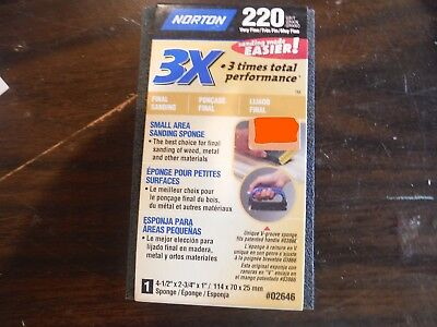 "NEW 220 VERY FINE Grit NORTON Sander - 1 Sponge 4.5"" x 2.75"" x 1"""