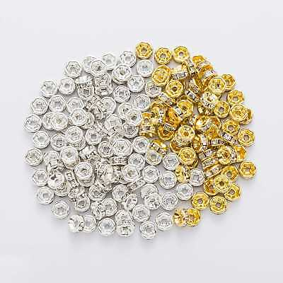 50 Piece Flat Side Rhinestone Rondelle Spacers Beads Jewelry Making 4-12mm