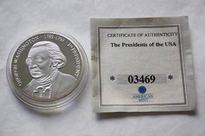 President George Washington Timeline Commemorative Silver Plated Proof Coin Coa