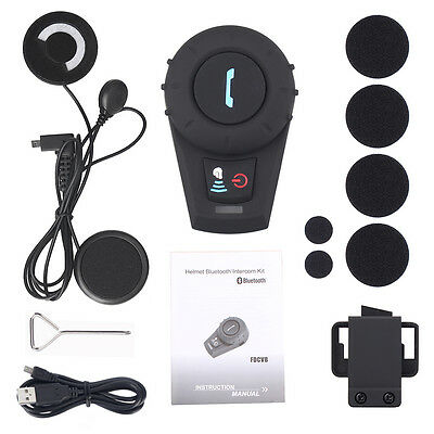 500M BT Motorcycle Bluetooth Interphone Helmet Intercom Soft Cable Headset +FM