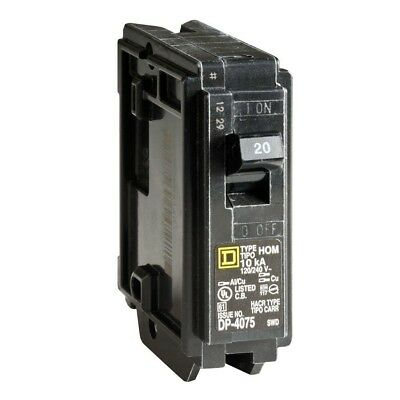 Square D Homeline 20 Amp Single-Pole Circuit Breaker Protection Easy Install
