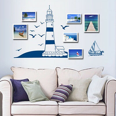 ITS- Sailing Boat Lighthouse Sea Gull Small Photo Frame Mural Wall Sticker Decor