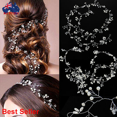 Pearls Wedding Hair Vine Silver Crystal Bridal Accessories Diamante Headpiece #S