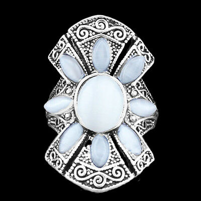 Opal Sliver Plated Rings For Women Vintage Hollow Flower Rings Antique Silver