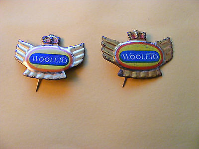 Lot of 2 WOOLER  motorcycle very old lapel,hat pin badges