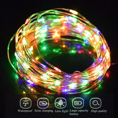 10M/33FT 100 LED Fairy Light Chain Solar Powered Copper Wire Outdoor Party Gift