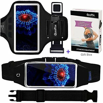 Phone Belt & Fitness Armband & Running Belt For iPhone Black & Rosy Pink