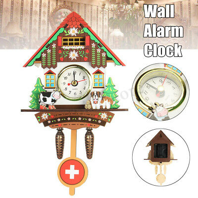 Vintage Wooden Cuckoo Wall Clock Cow Dog Time Bell Swing Alarm Watch Home Decor