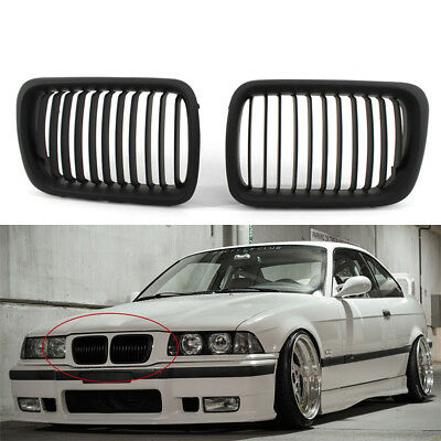 1 Pair Matte Black Front Hood Kidney Grill Grille For Bmw 3 Series E36 M3 97 99