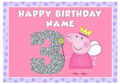 Peppa Pig Personalised Edible Icing Cake Topper A4 Size