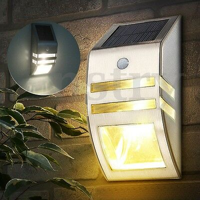 1/2/4x Stainless Steel Solar Power 2 LED Motion Sensor Outdoor Garden Wall Light