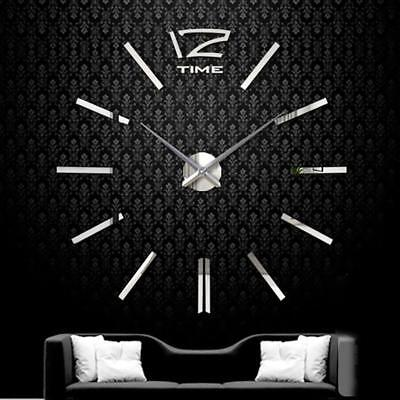 DIY Extra Large Wall Clock 3D Mirror Surface Sticker Living Room Decor Silver DS