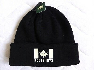 New ROOTS of Canada BLACK Super Stretchy Beanie Toque Hat UNISEX Tags