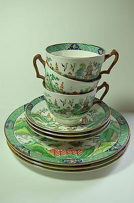 Crown Staffordshire Chinese Willow 9 Tlg Set Fine Bone China Porzellan