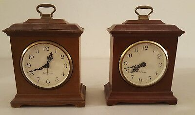 Vintage Pair of SETH THOMAS Buckingham 2W Mahogany Wind-Up Alarm Bracket Clocks