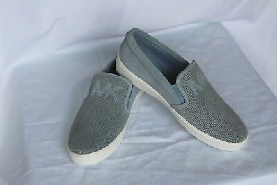 7b89381a42c04 NEW Blue MICHAEL KORS Lasered Suede Sneakers KEATON Slip On Flats Shoes sz  7.5