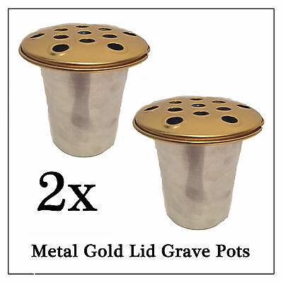 2x Metal Memorial Grave Flower Pot, Gold Replacement Water Holder for Vase Stone