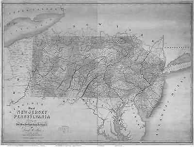 1839 PA NJ Map Paramus North South Plainfield Old Bridge Old New Jersey History