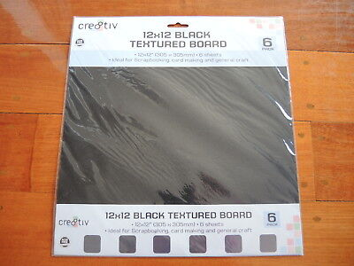 Cre8tiv 12x12 Black textured Board 6 pack  BRAND NEW