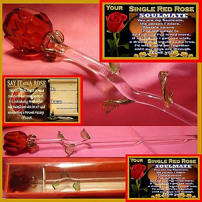 Single Red Rose Glass Flower Soulmate Present Valentines Day Ornament I Love You