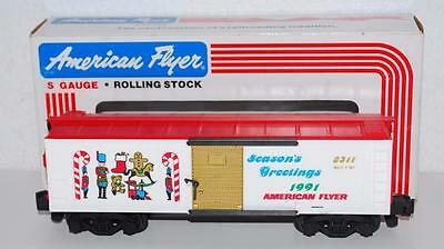 American Flyer 6-48311 Seasons Greetings 1991 Christmas Boxcar S gauge train