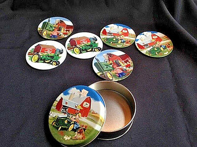 John Deere Coasters In Tin Set Of 6