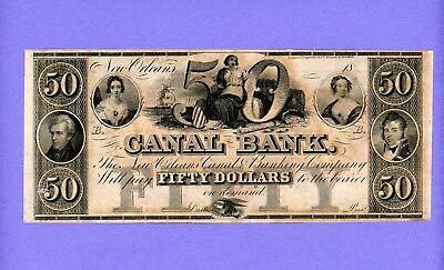 1800's $50 New Orleans Canal & Banking Co CRISP UNC NOTE