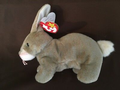 TY Beanie Baby - NIBBLY the Brown Rabbit (6 inch) - MWMTs Stuffed Animal Toy