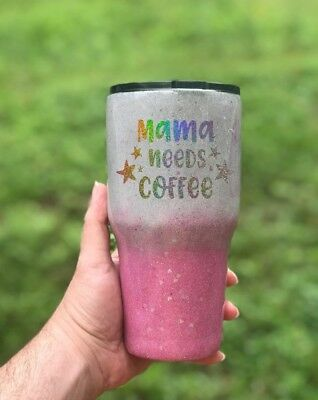 30oz Ombre Stainless Tumbler - Pick your glitter color - FREE SHIPPING