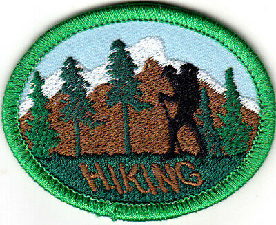 """HIKING"" Iron On Patch Hiker Scout Cub Boy Girl Hike Outdoors"