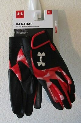NWT Under Armour Womens UA Radar III Battng Gloves XL Red/Black/White MSRP$30