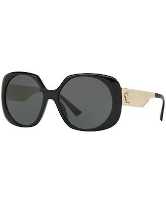bec62635ab27 AUTHENTIC VERSACE VE4331 GB1 87 Round Sunglasses Black   Grey Lens ...