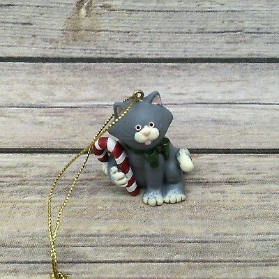 """Russ Berrie """"Wags to Whiskers"""" Grey and White Candy Cane Christmas Ornament"""