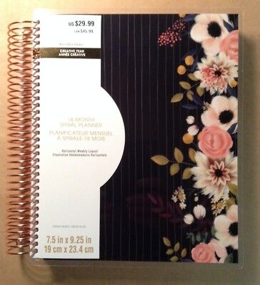 "NEW! 2018-2019 Creative Year ""PIN STRIPE FLORAL"" Spiral 18-Month Planner"