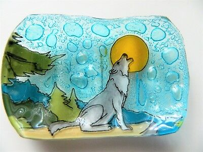 Wolf Howling at Moon Fused Art Glass Soap Dish Guest Bathroom Ecuador
