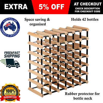 42 Bottle Timber Wine Rack Wooden Storage Cellar Vintry Organiser Stand