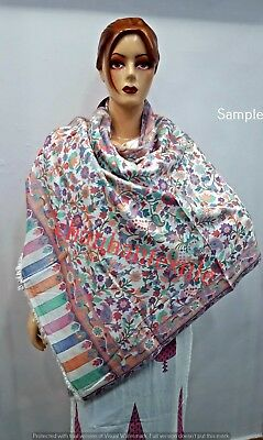 Women's Hand Woven Heavy Vintage Stole Silk Shawl Wrap Floral Scarf Long Scarves