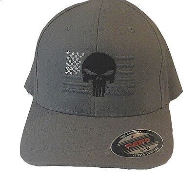 PUNISHER AMERICAN FLAG FLEXFIT HAT EMBROIDERED flex fit gun cap NEW GREY  fitted 7cc47b57aae