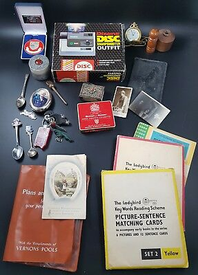 Mixed Junk Drawer Lot inc Disc Camera, Snap-On & Jaguar Key Rings, Ladybird Card
