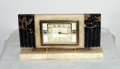 Rare French Vintage Art Deco Marble Alarm Clock. Movement by Bayard. Pretty.
