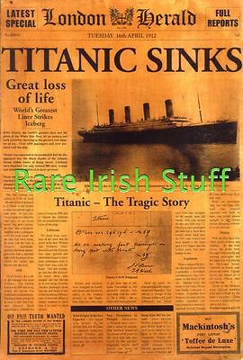 Titanic Sinks White Star Line Vintage Newspaper Ireland- 16th April 1912 - Print