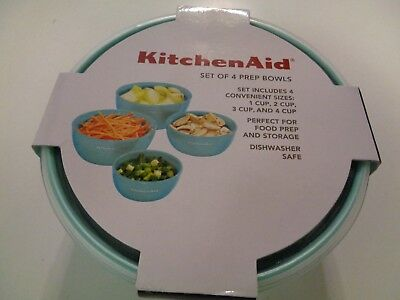 KITCHENAID SET OF 4 Prep Bowls ~ 1, 2, 3 and 4 Cup Sizes with Lids on duralex prep bowls, kitchen prep bowls, pampered chef prep bowls, oxo prep bowls, paula deen prep bowls, nordic ware prep bowls, anchor hocking glass prep bowls, pyrex prep bowls,