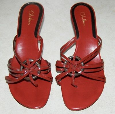 0071375cb Cole Haan Women s Sandals Shoes Red Patent Leather Thong Toe Kitten Heel sz  9.5