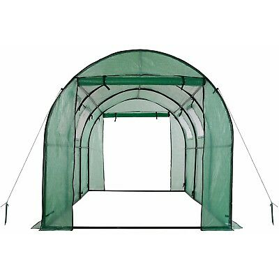 Ogrow 2-Door Walk-in Tunnel Greenhouse with Ventilation Windows - White - NEW